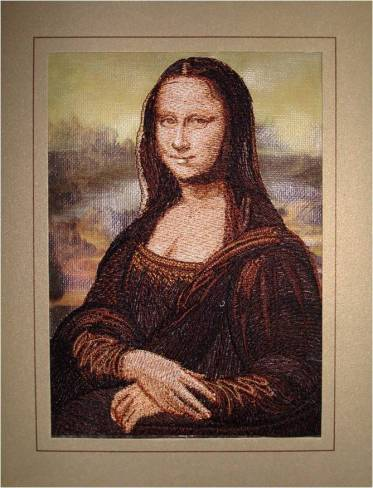 Affinity Express Holiday Card: da Vinci's Mona Lisa in Embroidery