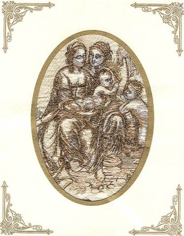 Affinity Express Holiday Card_da Vinci's Virgin Mary and Child in Embroidery