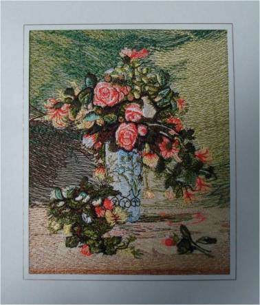 Affinity Express Holiday Card: Renoir's Roses and Jasmine in Embroidery