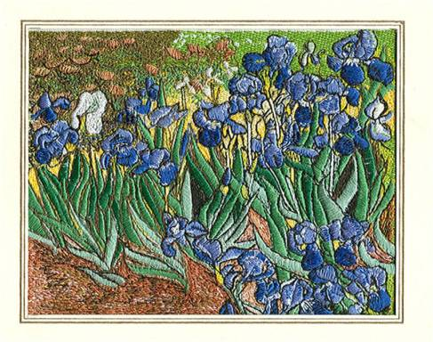 Affinity Express Holiday Card: Van Gogh's Irises in Embroidery