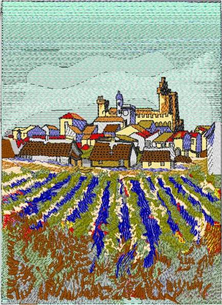 Affinity Express Holiday Card: Van Gogh's View of Saintes Mary's in Embroidery