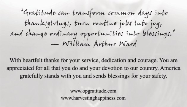 Harvesting Happiness Card for Operation Gratitude