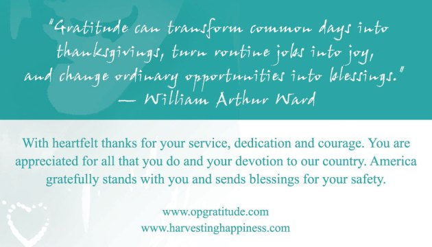 Harvesting Happiness Card for Operation Gratitude: Teal
