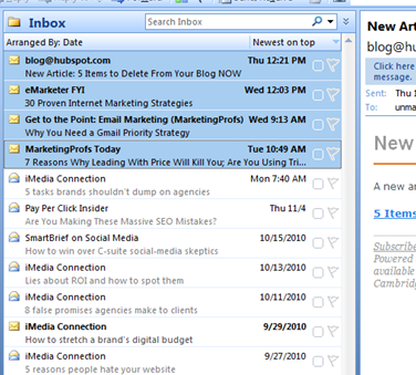 Inbox with Marketing Emails