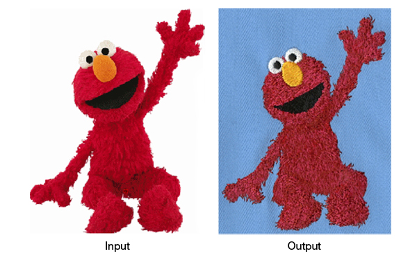 An embroideried depiction of Elmo