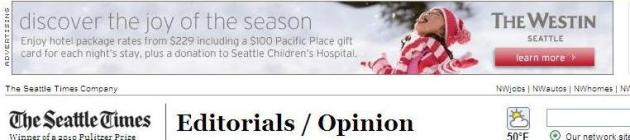 Westin Ad in the Seattle Times site