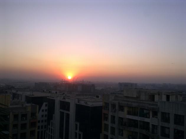 The sun setting over Mumbai