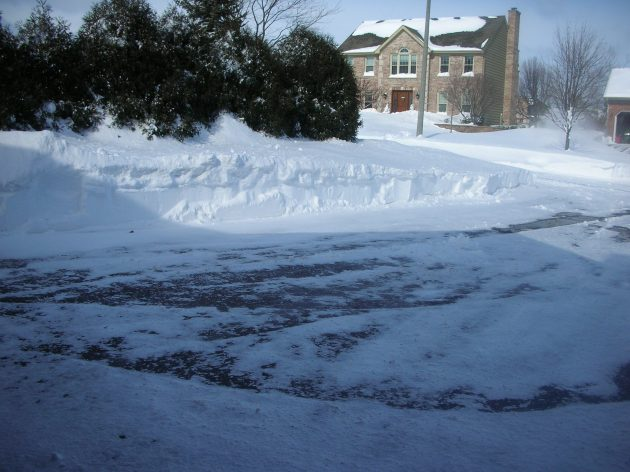 Snow cleared off the driveway