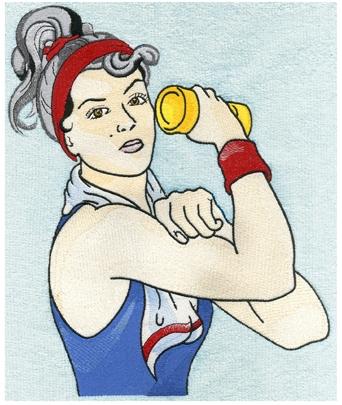 Embroidery Digitizing Sample Design: Woman working out with weights