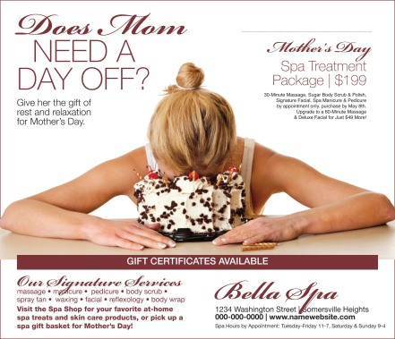 Mother's Day ad for spa treatment