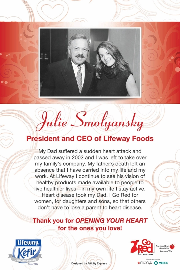 Print poster for Go Red for Women featuring the CEO of Lifeway Foods
