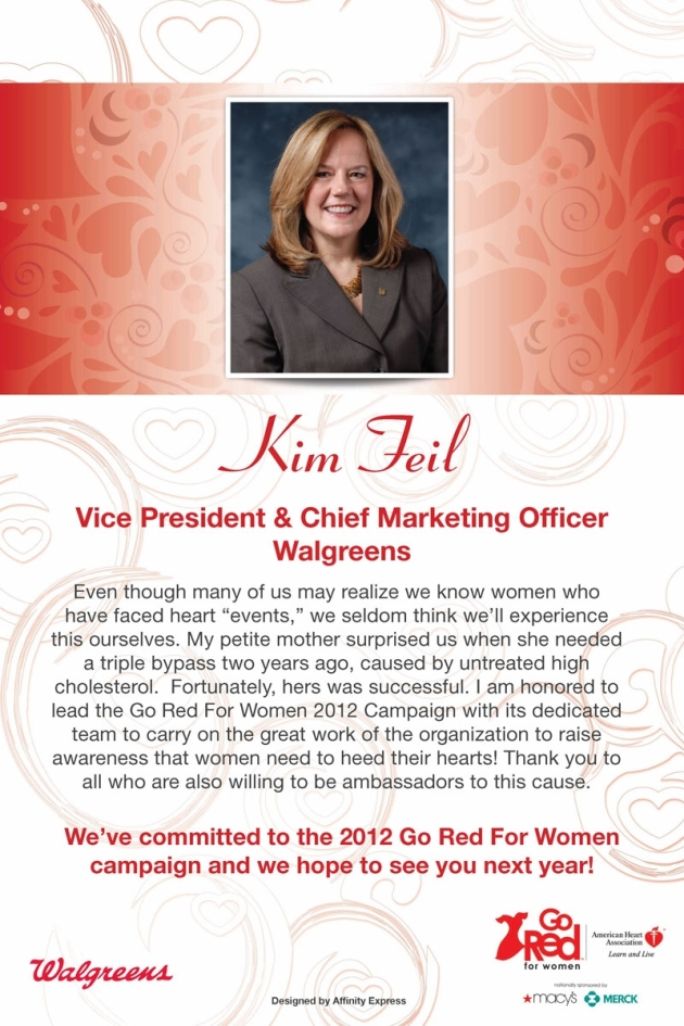 Print poster for Go Red for Women featuring the CMO of Walgreens