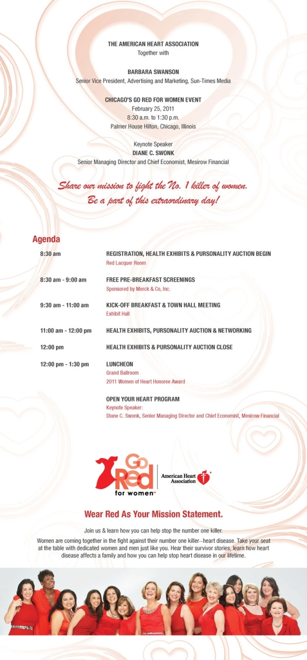 Print ad sample: invitation for Go Red for Women