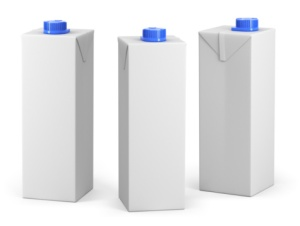 White beverage boxes with blue caps: no branding or text