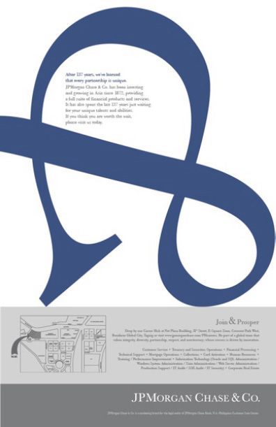 Ad illustrating use of blue color