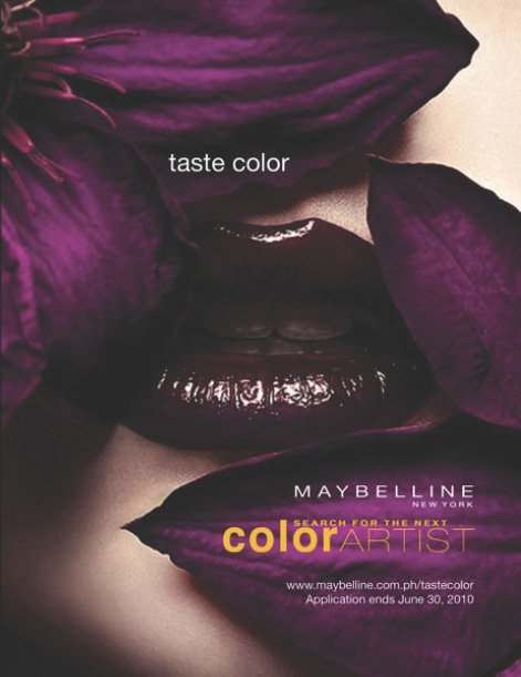 Ad illustrating use of purple color