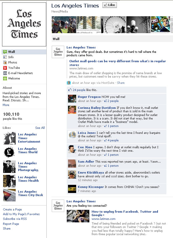 LA Times on Facebook: Wall