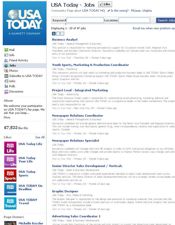 USA Today: Jobs