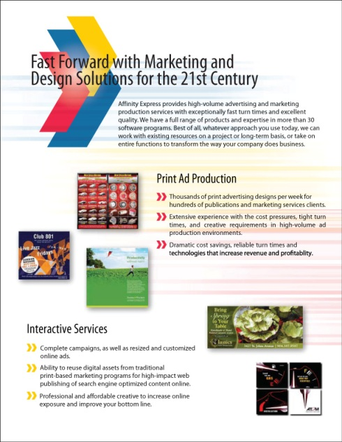 Affinity Express Corporate Brochure: Marketing and Design Solutions for the 21st Century
