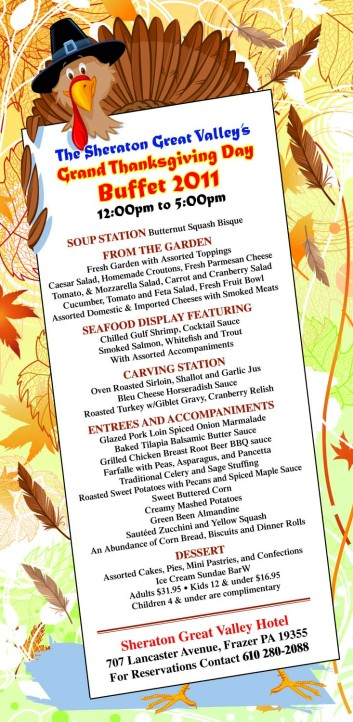 Newspaper print ad for Thanksgiving buffet created by the Affinity Express team
