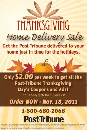 Newspaper print ad for Thanksgiving home delivery sale created by the Affinity Express team