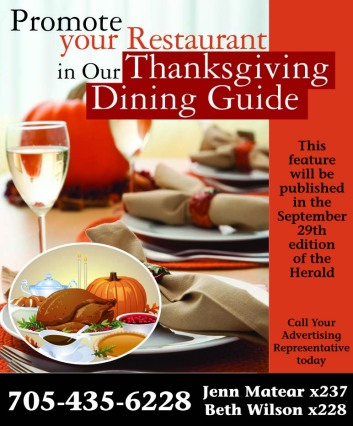 Newspaper print ad for Thanksgiving Dining Guide created by the Affinity Express team