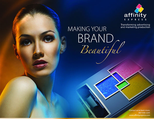"Design for cosmetic brand with Affinity Express logo and text ""Making your brand beautiful"""