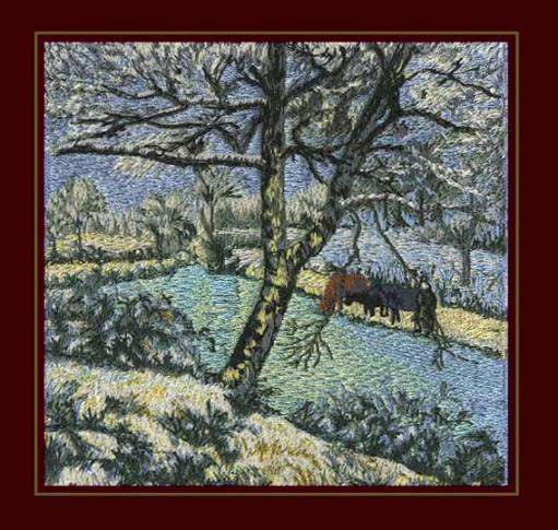 Embroidery digitizing design of Pissaro painting