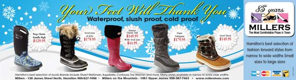 Ad for waterproof winter boots