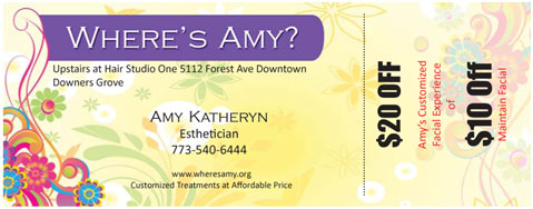 Coupon for hair styling designed by Affinity Express