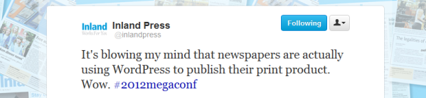 Inland Press Tweet #2012megaconf