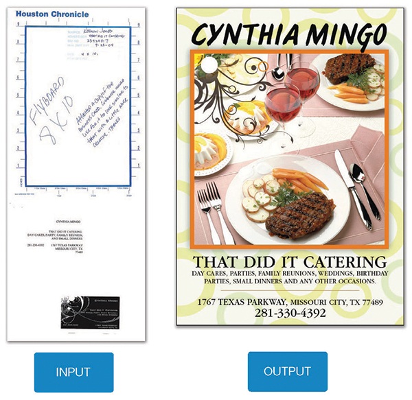 Print ad for catering service, with input
