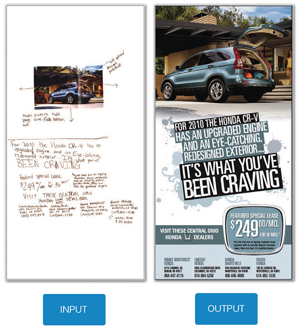 Print ad for Honda CR-V, with input