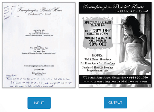 Print ad for wedding dresses, with input