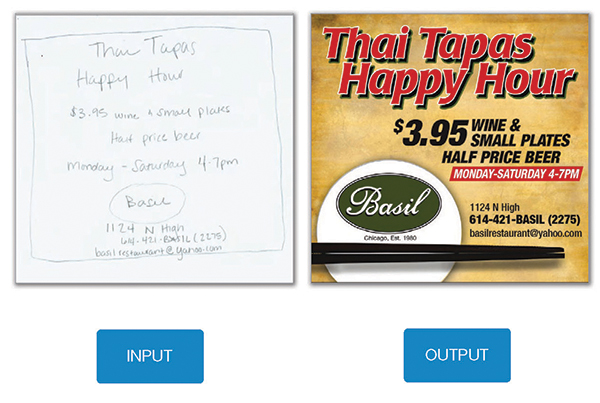 Print ad for happy hour, with input