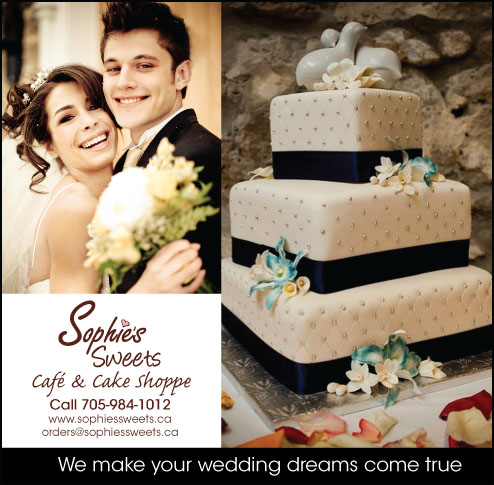 Ad for creative wedding cake bakery Sophie's Sweets