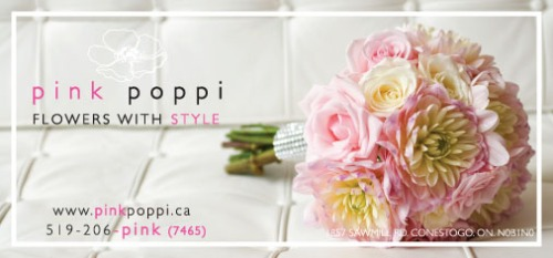 Pink Poppi wedding flowers ad in non-traditional style