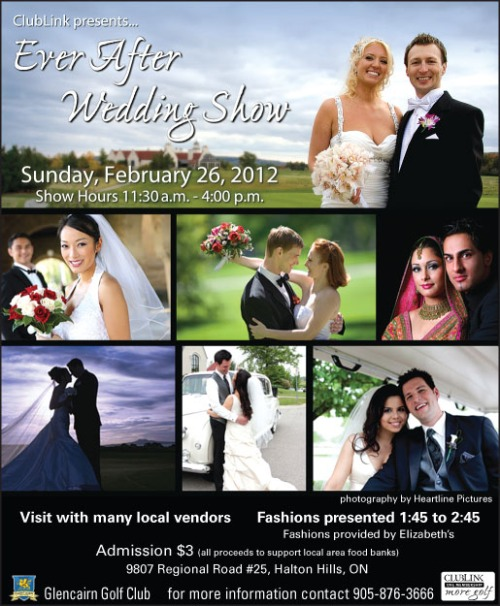 Ad for wedding show with multiple images of happy couples