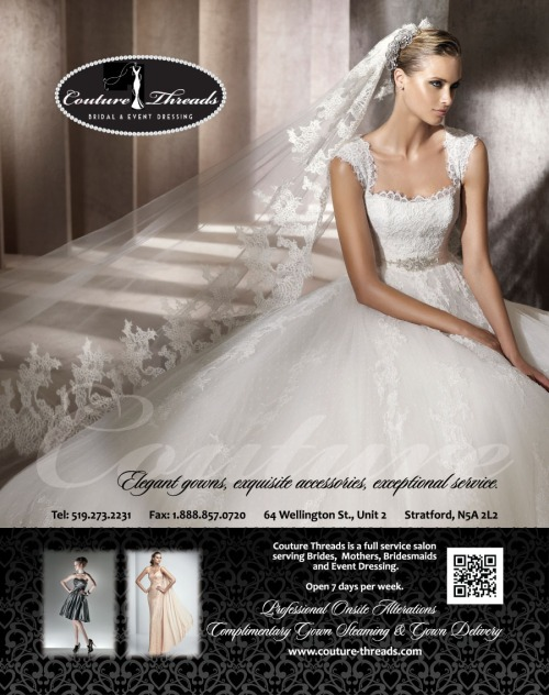 Ad for wedding dresses from Couture Threads