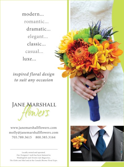 Ad for wedding flowers with yellow, orange and green bouquet
