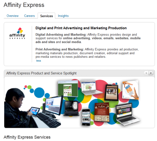 LinkedIn Products/Services: description, cover photo and profile picture