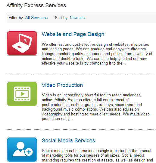 LinkedIn Products or Services Icons