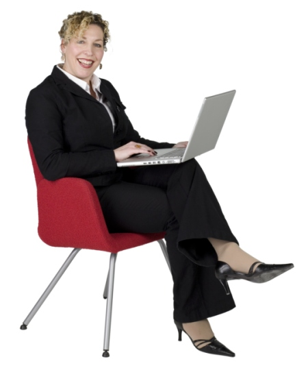 Business woman posing with laptop