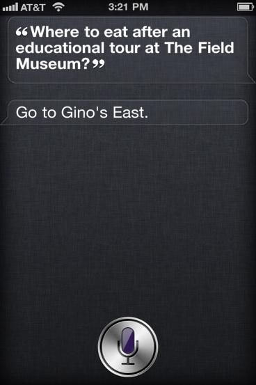 Siri on Gino's East Pizza