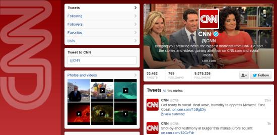 CNN Twitter profile