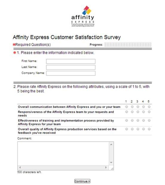 Affinity Express Customer Satisfaction Survey