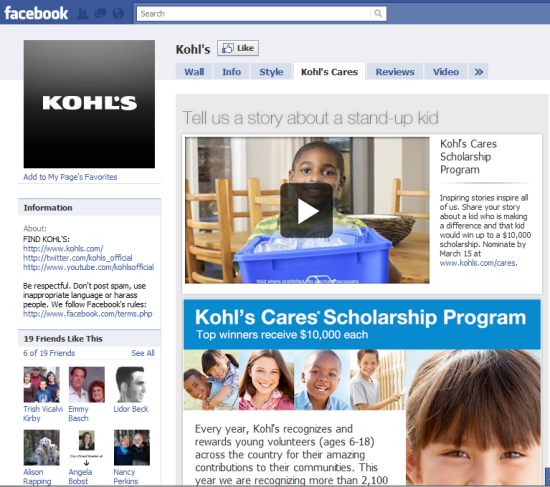 Kohl's facebook campaign