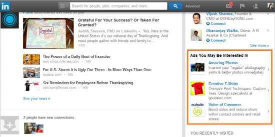 LinkedIn targeted ads